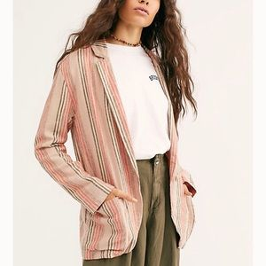 Free People Simply Stripe Blazer Jacket